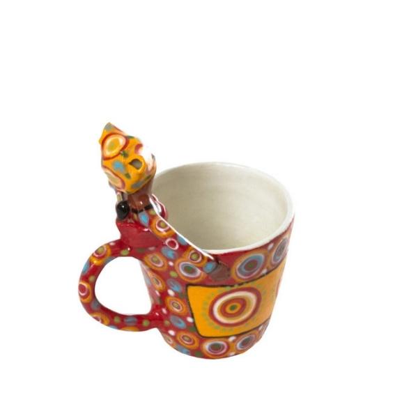 Handmade ceramic 1Lady Mug painted with bright glaze on stoneware clay