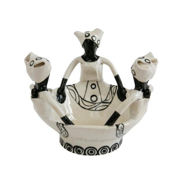 Handmade Ceramic Ubuntu Bowl black glaze on white with 3Lady clay figures