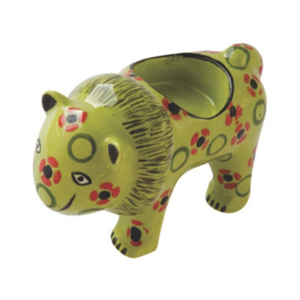 Handmade ceramic lion tealight holder slipcast from clay and painted with vibrant patterns and colours