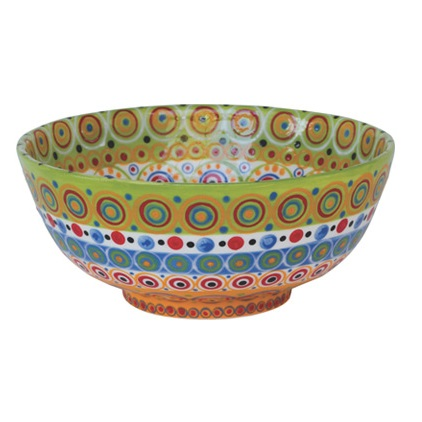 Large handmade salad bowl made from stoneware clay handpainted with bright patterns and colours