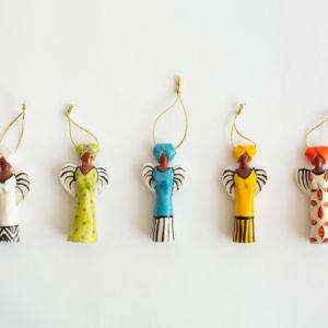 Handmade Tiny Hanging Ceramic Angels
